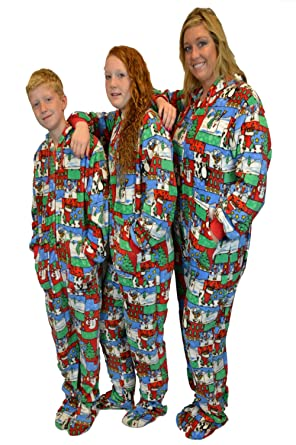 dd7dfcef7 Amazon.com  Christmas Fun Plush Hoodie Footed Onesie Pajamas ...