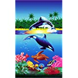 "Oversized Extra-Large Terry Cotton Beach Towe, 40x70"", Soft Absorbent and Dry Fast for Swimming Pool, Beach and Spa-Orcas"