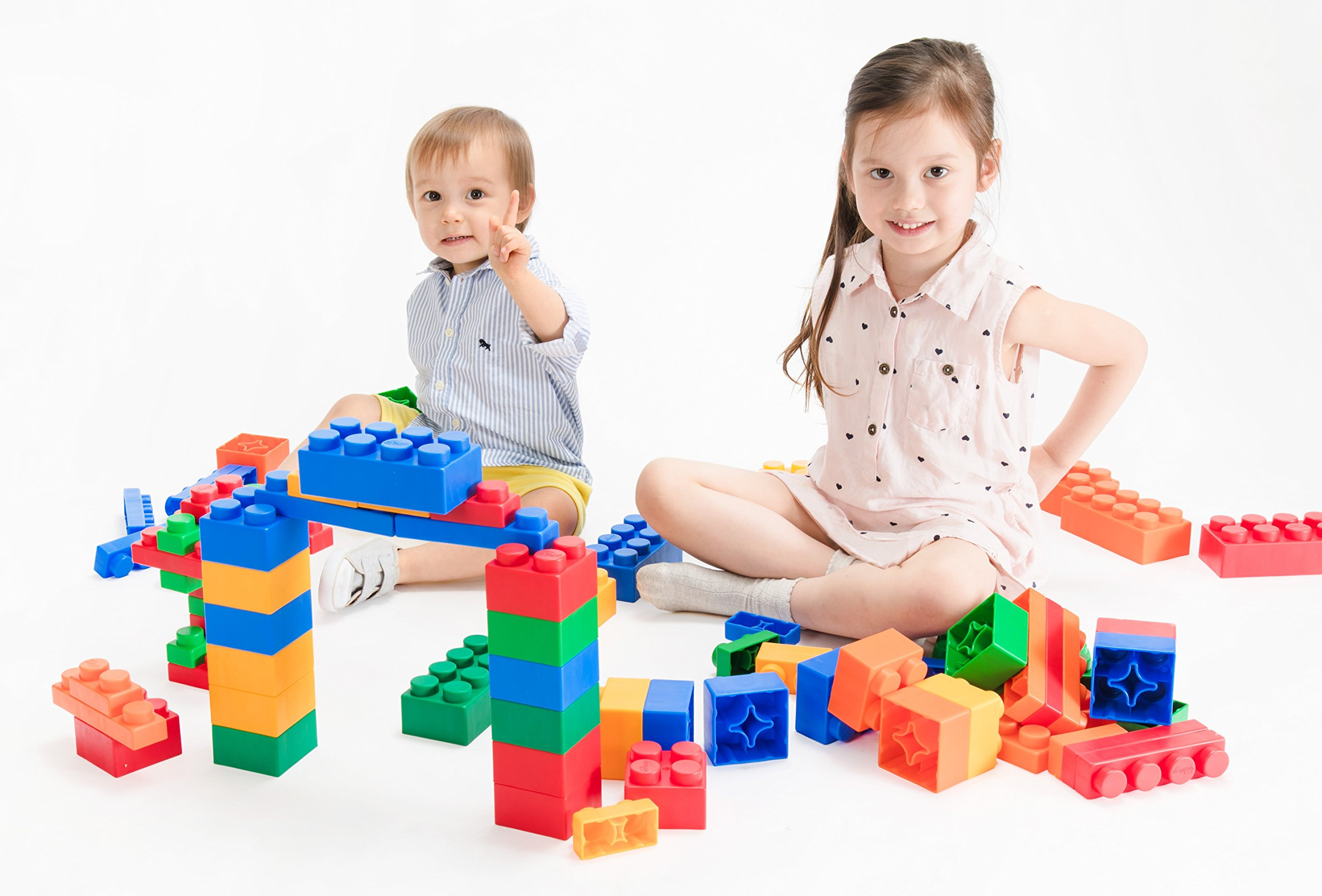 UNiPLAY Jumbo Soft Building Blocks - Mix Series(36pcs). Educational and Creative Toys, Food Grade Material(Antibacterial), Non-Toxic, BPA Free, 100%Safe for Kids, Toddlers, Baby, Preschoolers