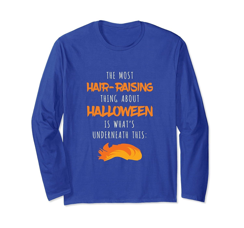 Spooky Hair-Raising Halloween Trump Long Sleeve T-Shirt-mt