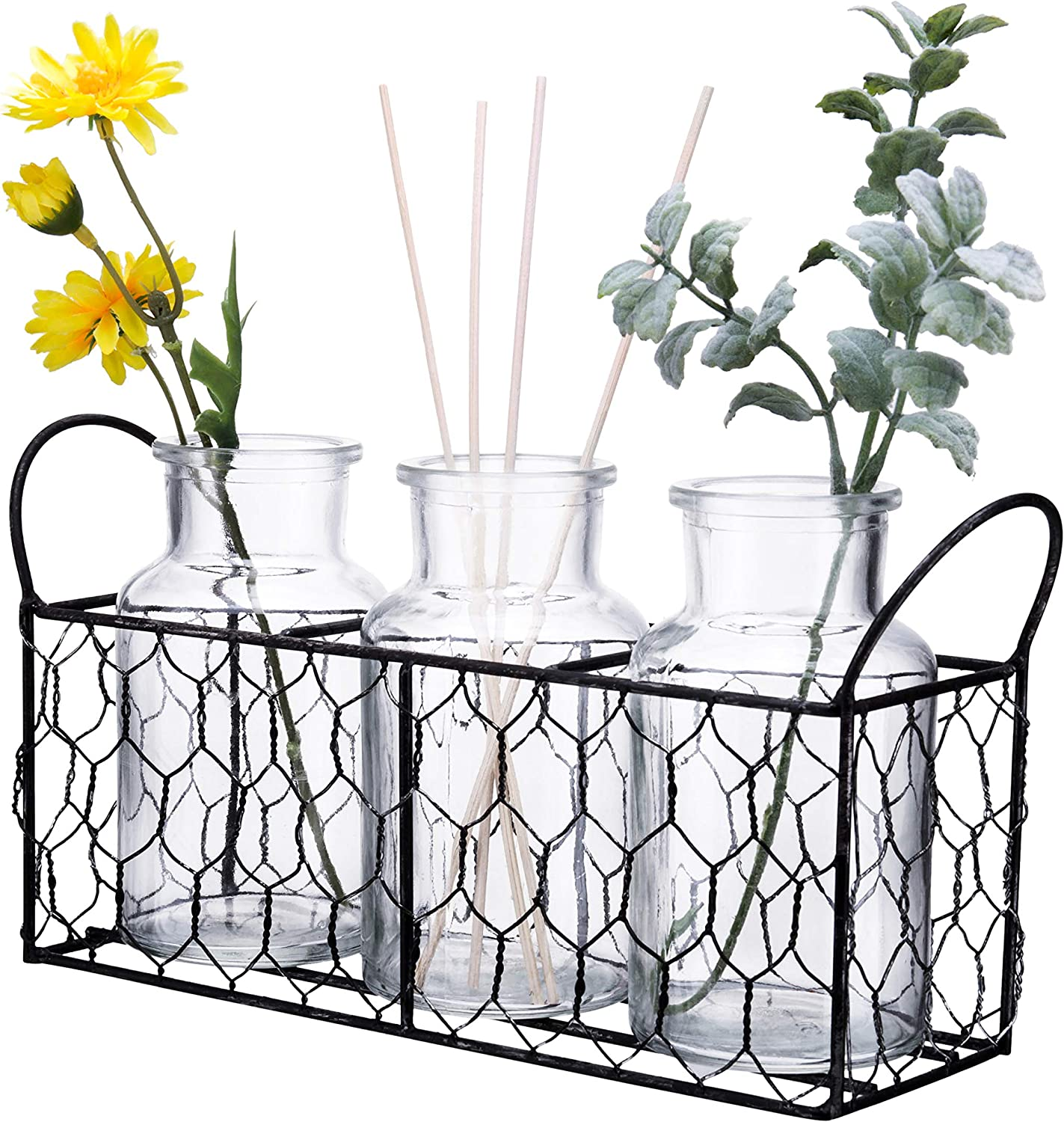 "Diamond Star Clear Glass Milk Bottle Vases in Basket Caddy Vintage Style 3Pcs Jars Sets (11""L X 3""W X 5.5""H)"