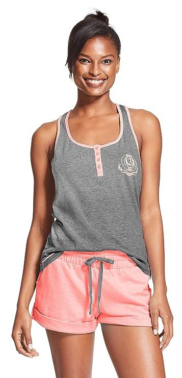 U.S. Polo Assn. Womens Pajama Sets Racerback Tank and Shorts Sleepwear PJs Set Charcoal Heather/Light Pink X-Large