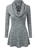 Doublju Marled Cowl Neck A-Line Tunic Sweater Dress Top For Women With Plus Size (Made In USA)