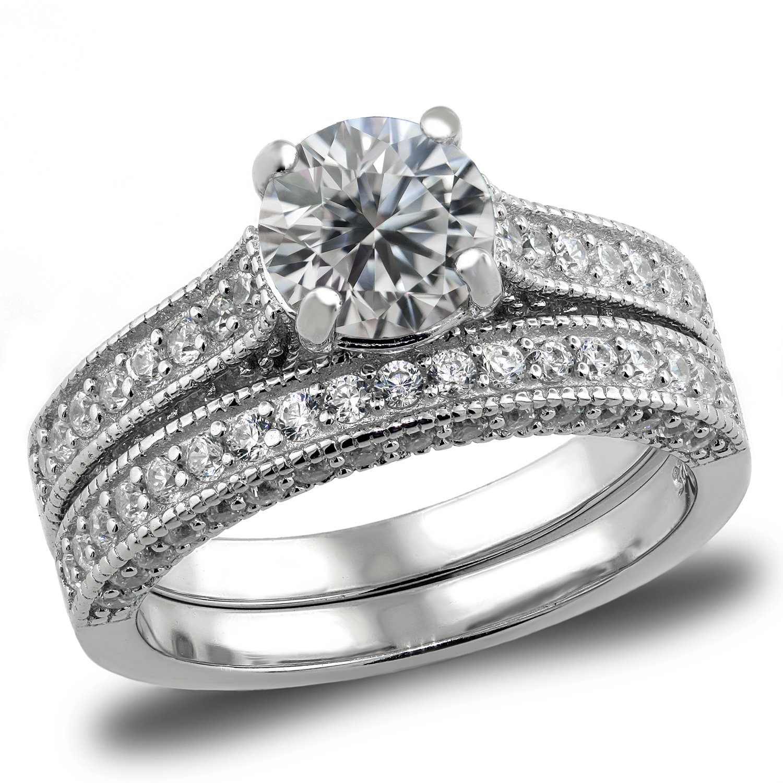 Sterling Silver 2.63 Carats Bridal Set Engagement Wedding Rings Set Cubic Zirconia (6)