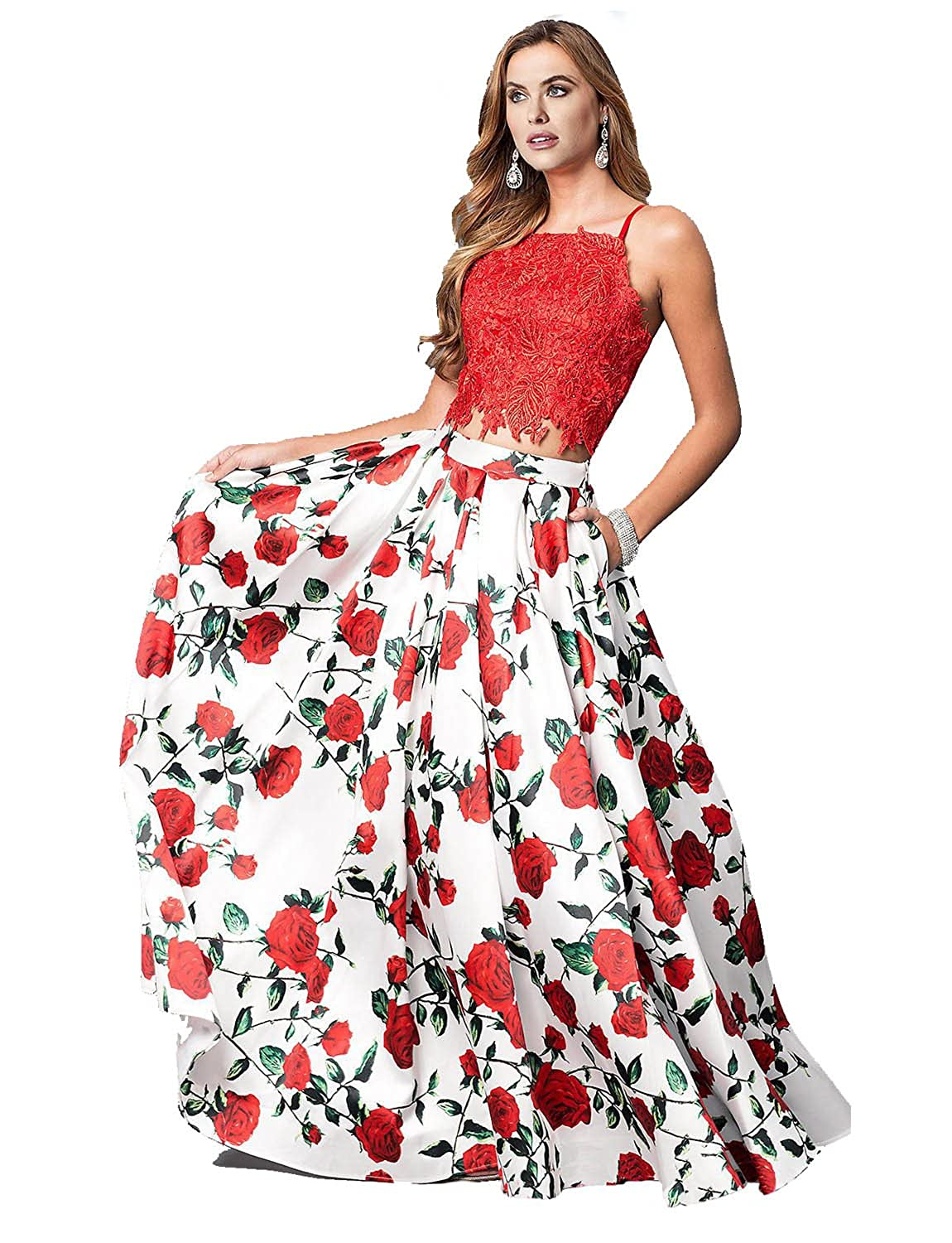 8f8c43a0669 Momabridal Womens Long Two Piece Floral Lace Satin Prom Dresses Strapy Homecoming  Party Gowns with Pockets at Amazon Women s Clothing store