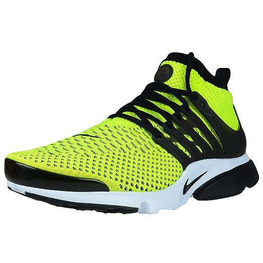 Nike Mens Air Presto Flyknit Ultra Volt/Black-White Woven Size 10.5