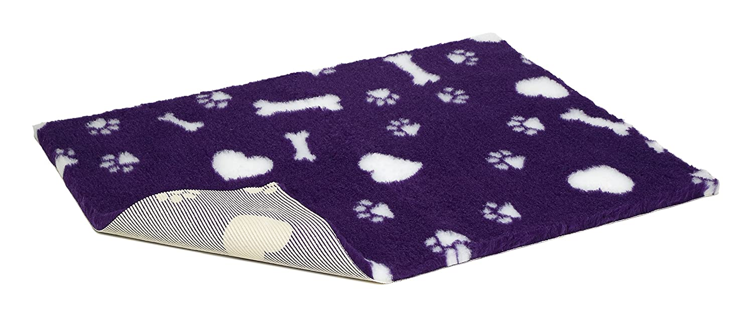 Vetbed Non-Slip Vet Bed with Hearts Paws and Bones, 54 x 30-Inch, Purple White