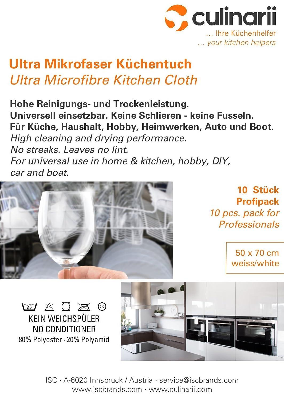 Culinarii Ultra Microfibre Kitchen Cloth 50 x 70 centimetres, Pack ...