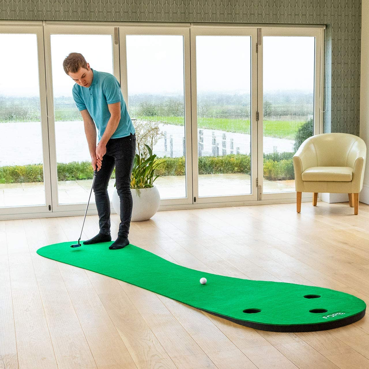 FORB Home Golf Putting Mats [2 Sizes] | Deluxe Indoor Putting Practice (3 Holes) | Golf Training Aid | Putting Green Golf Trainer | Golf Putting Greens for Indoor Use