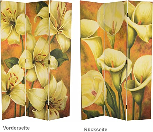 Flores amarillas Decoración Pared biombos Biombo separador Madera 3 paneles Jardín: Amazon.es: Hogar