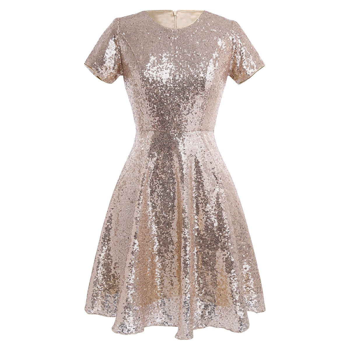 CHICTRY Womens Sequin Bridesmaid Dress Short Sleeves Evening Prom Dresses Formal Gowns: Amazon.co.uk: Clothing