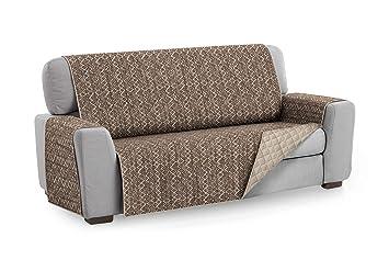 Textilhome - Funda Cubre Sofá Malu, 2 Plazas, Protector para Sofás Acolchado Reversible. Color Marron C/11