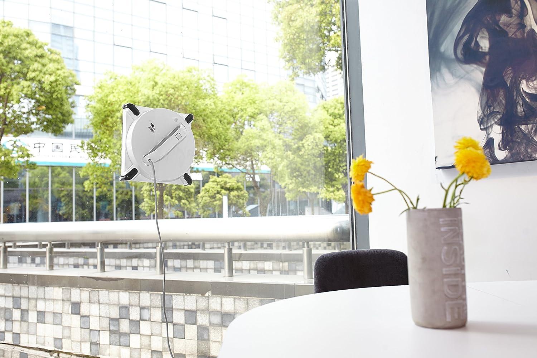 Fensterputzroboter an Fensterscheibe