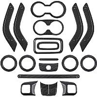 E-cowlboy Full Set Interior Decoration Trim Kit - Carbon Fiber Door Handle & Steering Wheel, Cup Cover & Air Outlet…