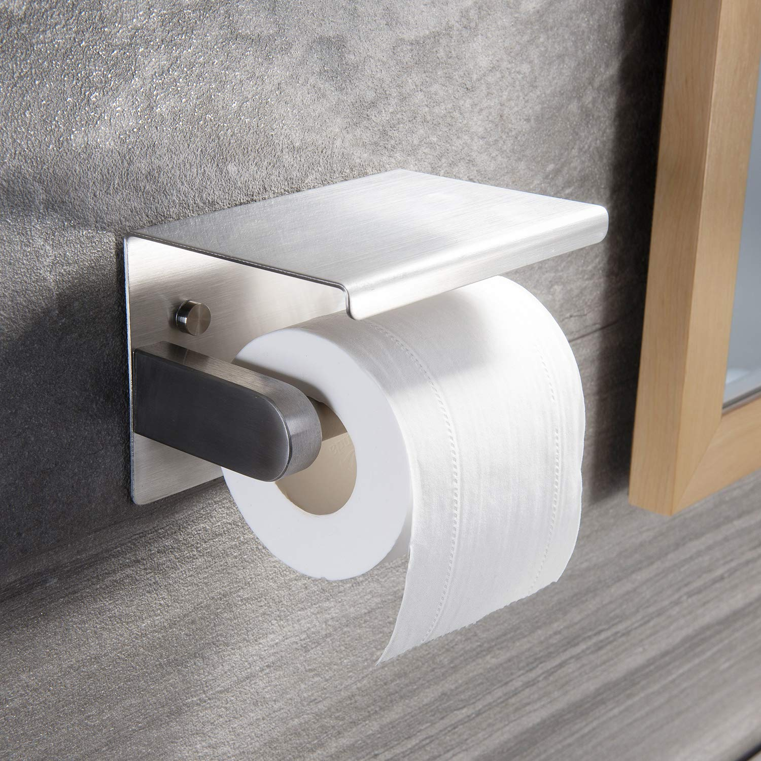 YIGII Toilet Paper Holder Stainless Steel Toilet Tissue Roll Holder Brushed Wall Mounted