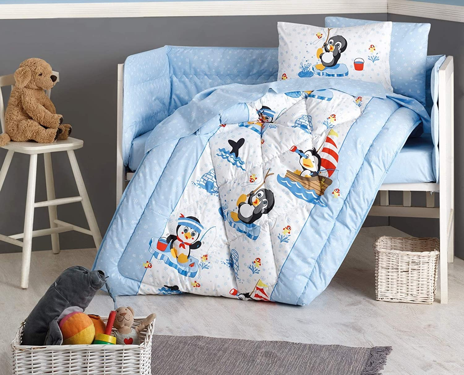 DecoMood Penguins - 100% Cotton Animals Penguins Themed Nursery Crib Set for Baby Boys and Girls, 6 Pieces Baby Comforter/Quilt Set with Crib Bumper, Comforter, Crib Sheet, Pillowcases, Blue, Unisex