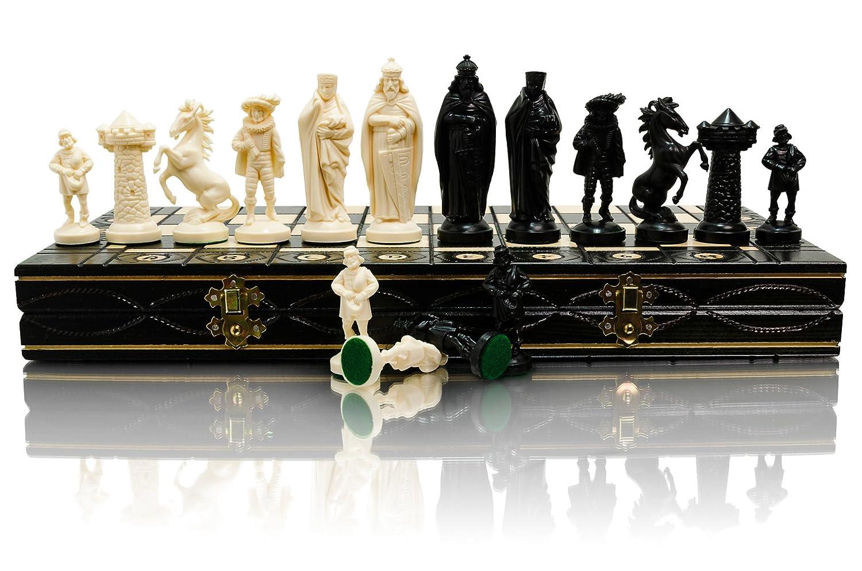 MEDIEVAL 40cm / 16in Kunststoff Mittelalterliche Armee Themed Figuren auf Holz Schachbrett, Classic Game