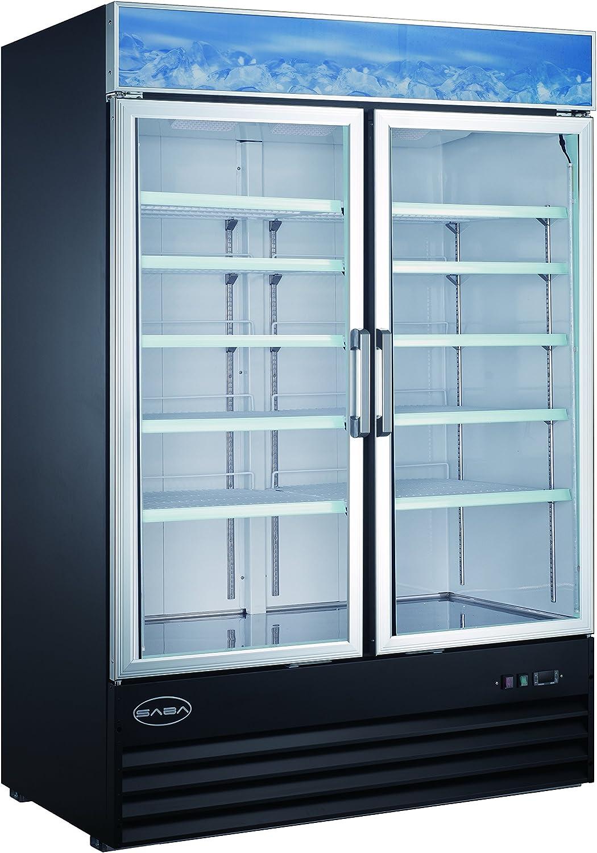 Amazon Com Saba Two Glass Door Reach In Freezer Merchandiser Display Case Appliances