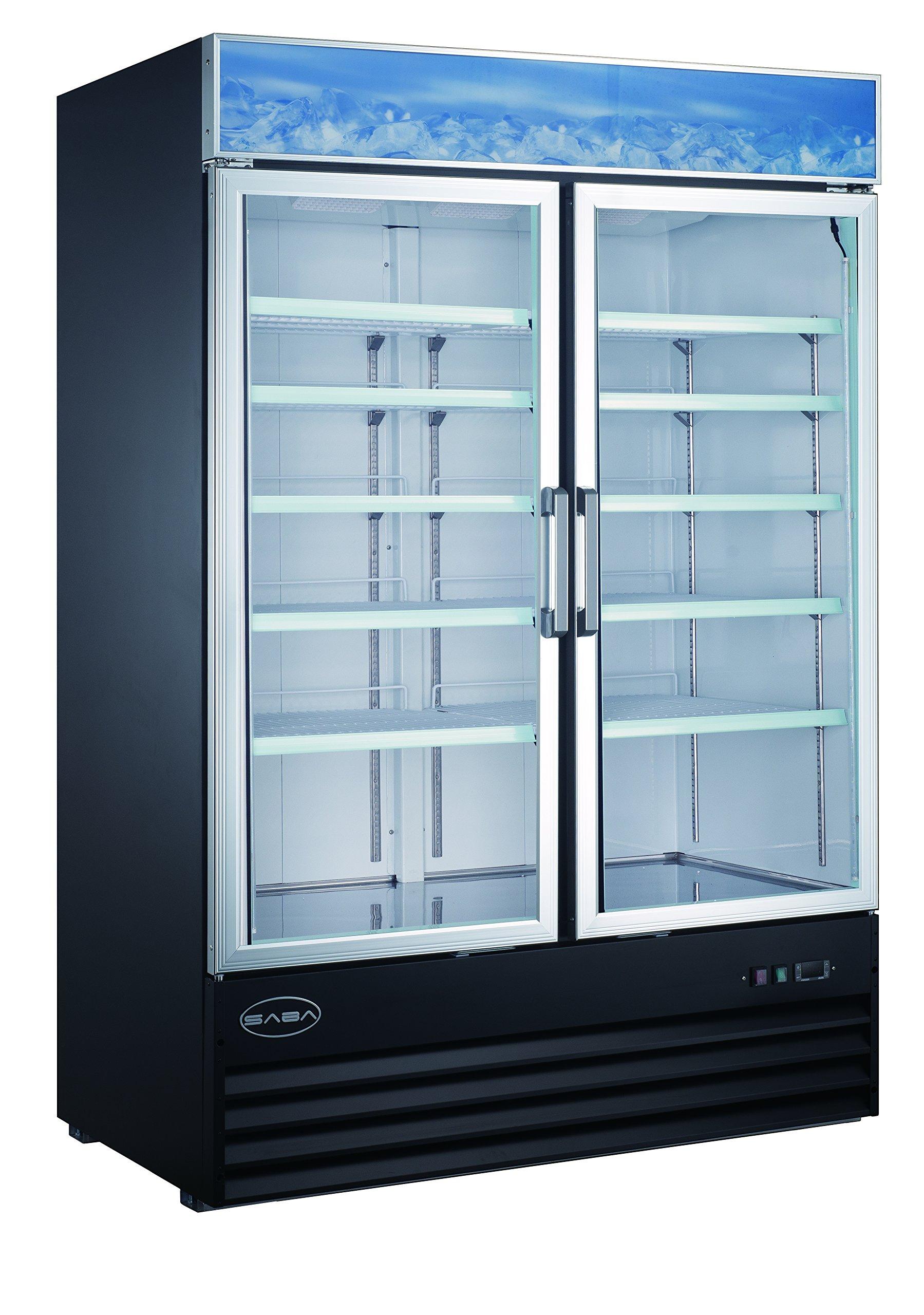 SABA Two Glass Door Reach-In Freezer Merchandiser Display Case