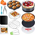 Apsung 8 Inch Air Fryer Accessories Set ,XL Air Fryer Accessories with Recipe Cookbook for Gowise Phillips Cozyna Airfryer, Fit All 3.7QT-5.3QT-5.8QT,BPA Free,Deep Fryer Accessories with Cake Barrel,Pizza Pan,Silicone Muffin Cups