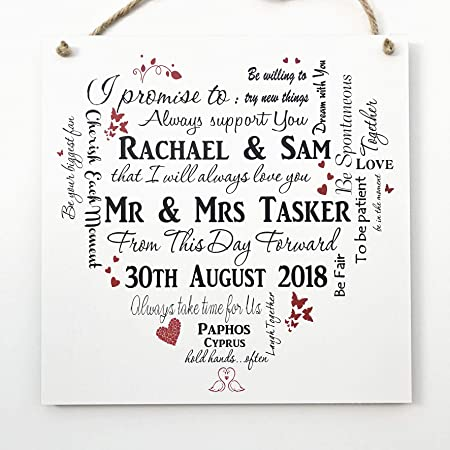 Missyjulia Ltd Unique Personalised Wedding Typography Wooden Plaque