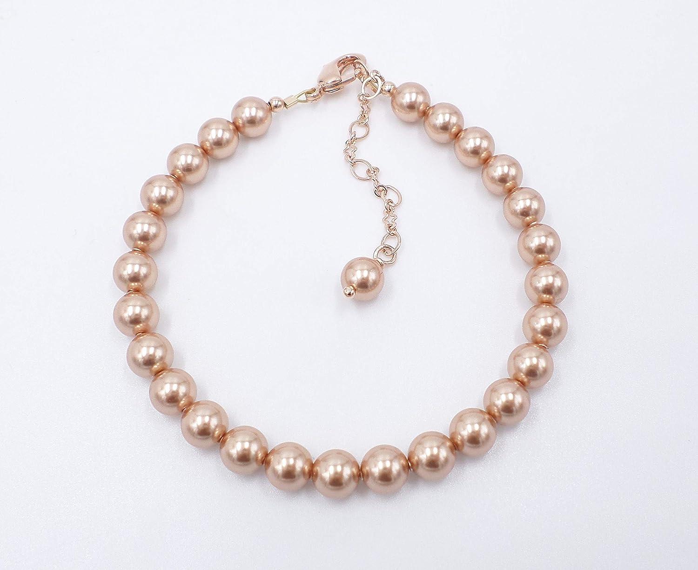 Swarovski Rose Gold 6mm Pearl Single Strand Pearl Bracelet