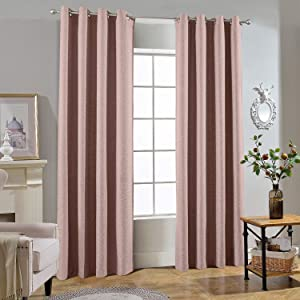 Melodieux 100% Blackout Textured Curtains for Bedroom Living Room - Thermal Insulated Lined Window Drapes, 52 by 63 Inch, Coral Pink (2 Panels)