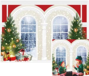 Allenjoy 7x5ft Christmas New Year Backdrop Winter House Window Snow Scenes Wonderland Family Party Birthday Glitter Bokeh Merry Xmas Eve Photography Background Newborn Baby Shower Decor Photo Booth