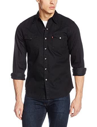 Levis Mens Barstow Western Pocket Shirt, Black, ...