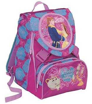 Mochila EXTENSIBLE - DISNEY - LA BELLA Y LA BESTIA - cartera escolar - violeta azul 31 Lt: Amazon.es: Equipaje