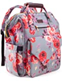 Diaper Bag Backpack, Upgraded Kaome Large Capacity Multifunction Nappy Bags, Waterproof Baby Bag Floral Insulated…