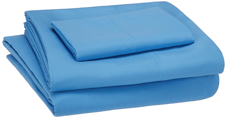 AmazonBasics Kid's Sheet Set - Soft, Easy-Wash Microfiber - Twin, Azure Blue