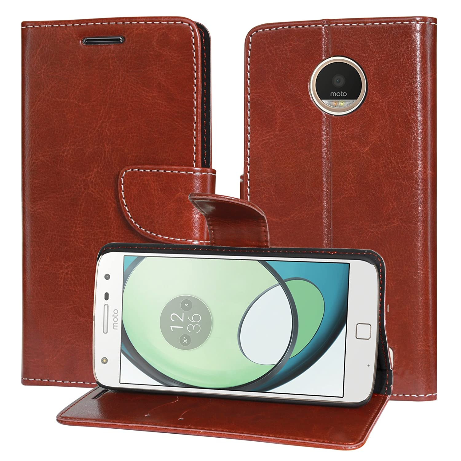 new style 0b787 97279 DMG Motorola Moto Z Play Flip Cover, Sturdy PU Leather Wallet Book Cover  Case for Motorola Moto Z Play (Brown)