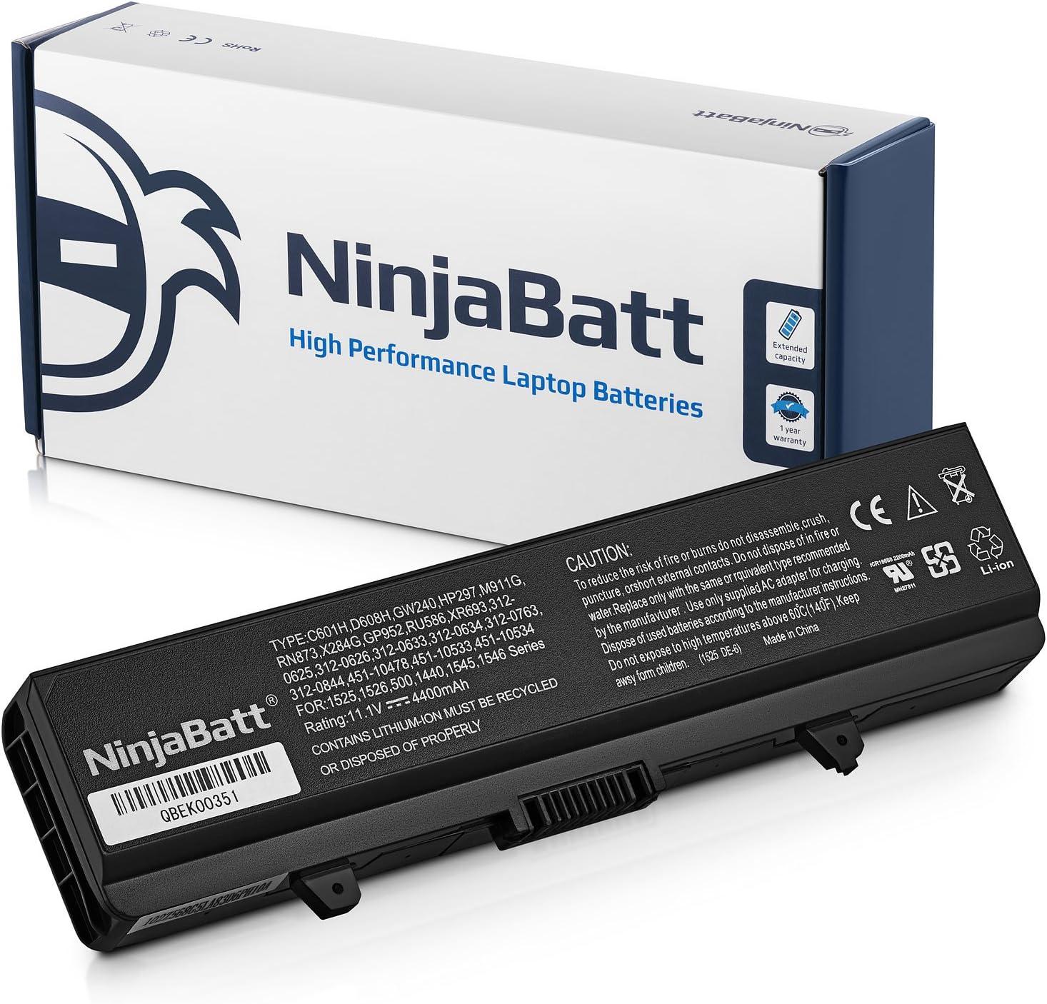 NinjaBatt Laptop Battery for Dell 1545 1440 X284G 1525 PP29L M911G GW240 PP41L RN873 1750 GP252 GP952 1546 1526 1440N 312-0625 312-0626 GW252 RU573 RW240 XR693 P277 Vostro 500 - [6 Cells/4400mAh/48Wh]