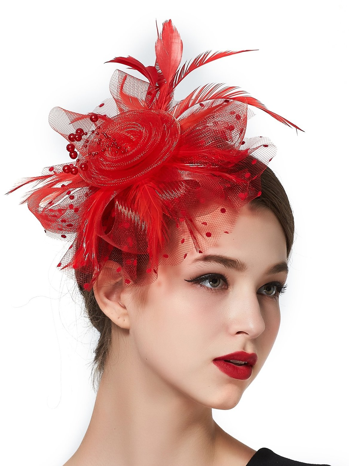 Derby Hats Red Women Church Hats Ladies Wedding Hats Tea Party Hat Headband  Clip 8270acc4d03