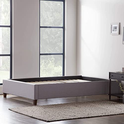 Lucid Upholstered Platform Bed with Slats Wood Construction Linen Inspired Fabric No Box Spring Required Compatible with Adjustable Bases