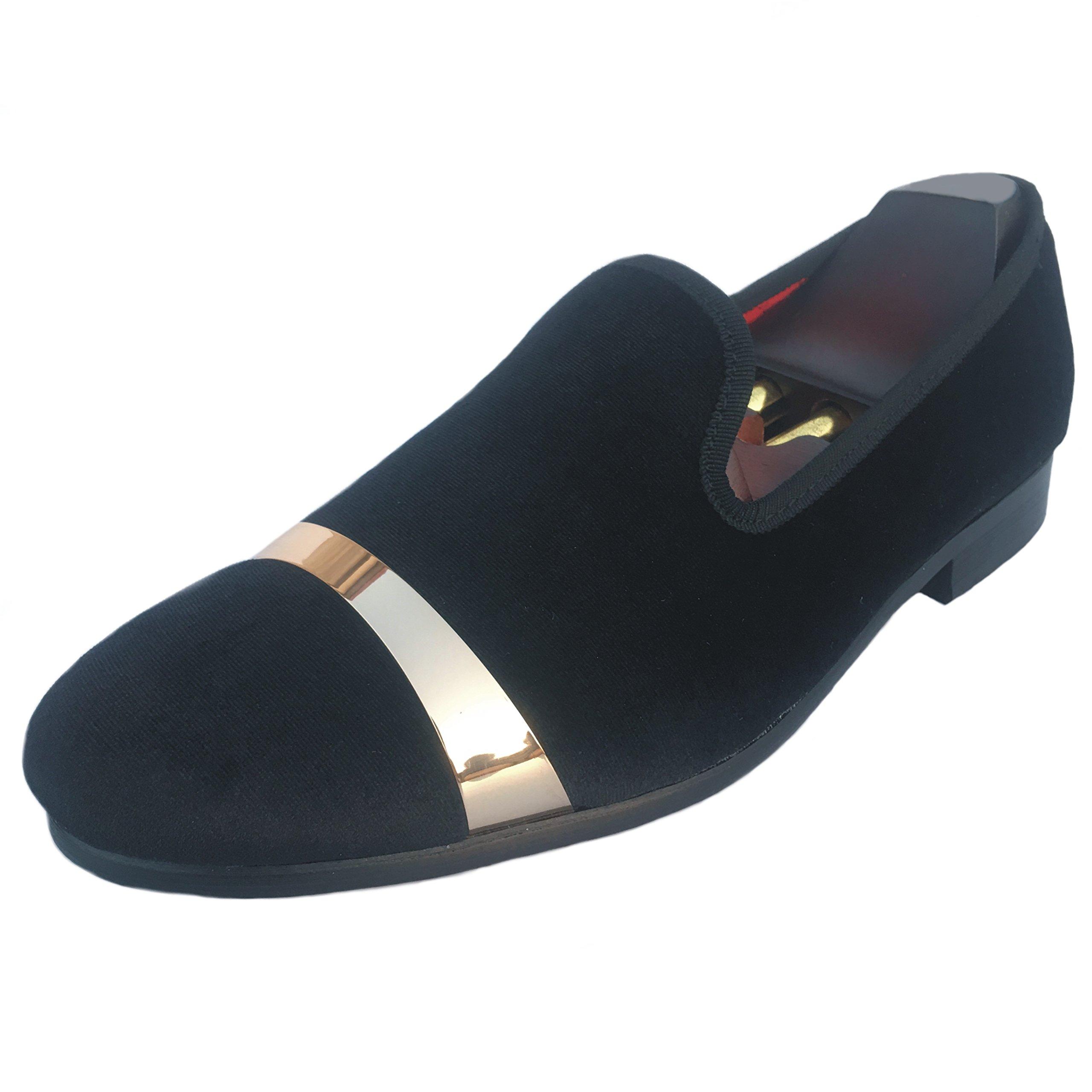 Justar Men's Velvet Loafers Dress Shoes Slip-on Wedding Slippers Flats Gold Buckle (7 D(M) US, Black) by Justar