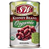 S & W • Canned Organic Kidney Beans (12 Pack), Vegan, Non-GMO, Natural Gluten-Free Bean, Sourced and Packaged in the USA, 15
