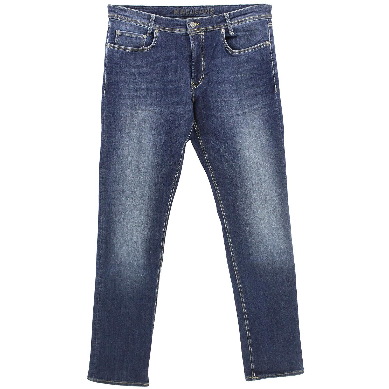 MAC JEANS Herren Macflexx Straight Jeans Blau Used