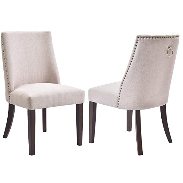 Kitchen Dining Chairs Set of 2 Fabric Upholstered Dining Room Chairs with Solid Wood Legs, Nailhead Trims - Beige