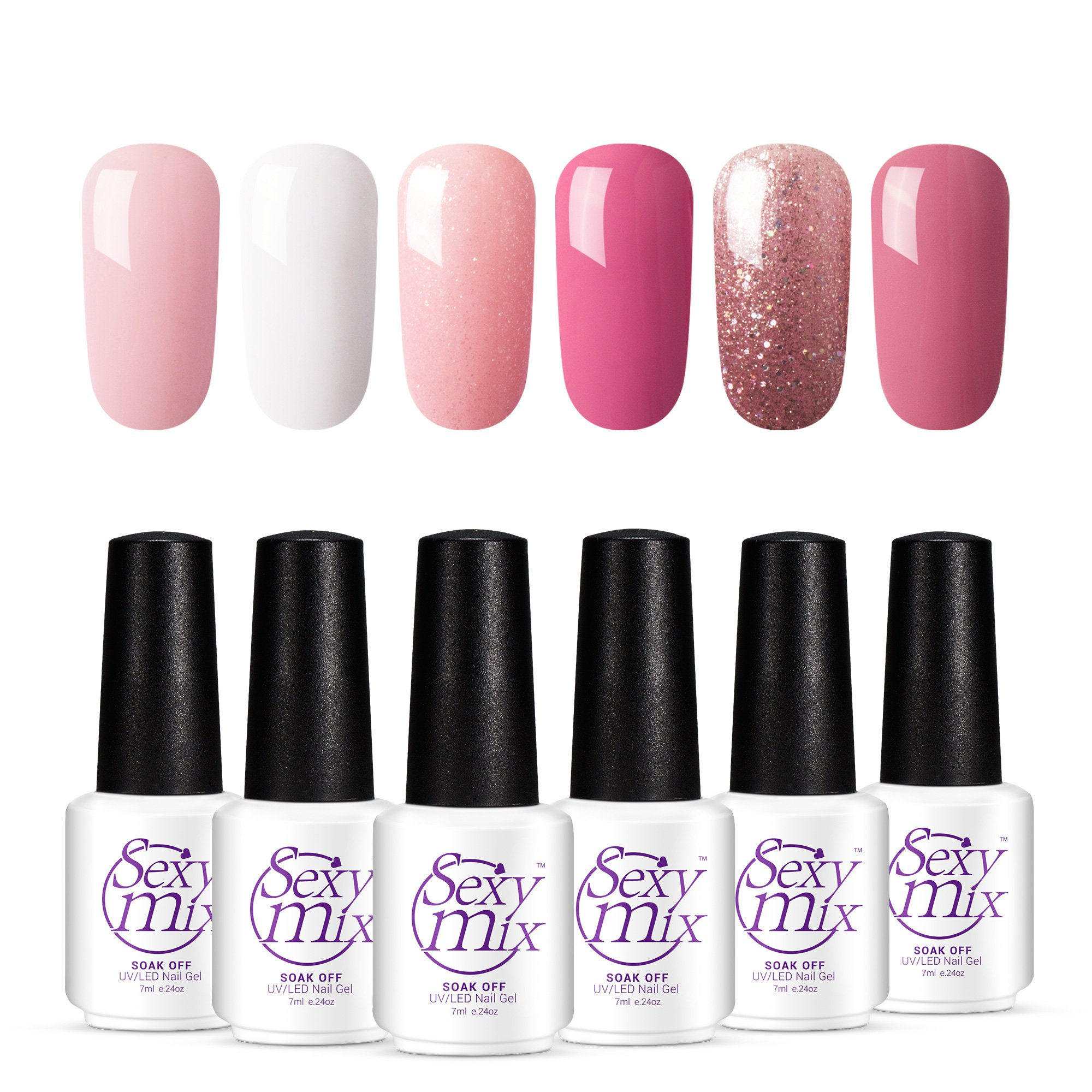 Amazon.com : Glitter Pigment Nail Gel Polishes for Nails, Required ...