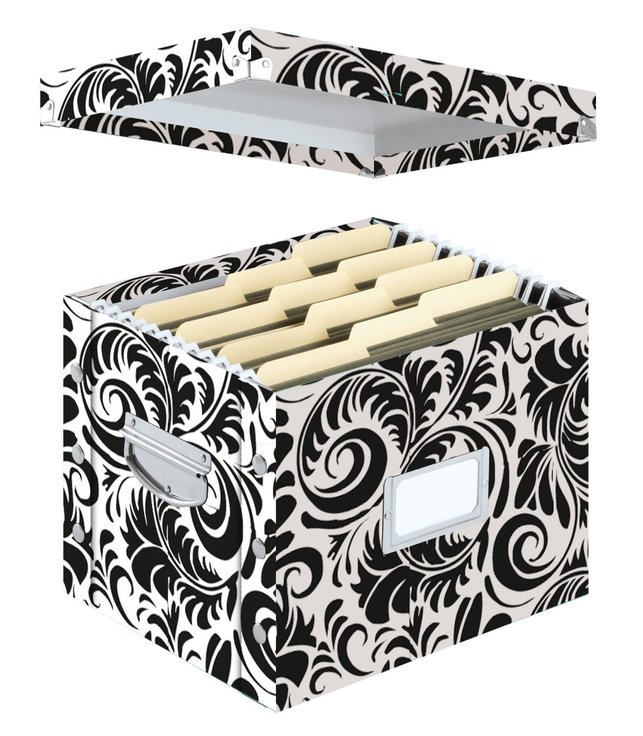 Amazon.com : Snap N Store Letter Size File Box, 11 X 14 X 1 Inches, Black  And White Scroll Design (SNS01836) : Filing Crates : Office Products