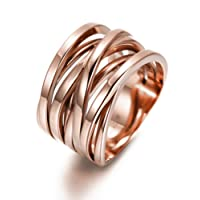 Ciunofor 13.7MM Stainless Steel Cross Ring Women Girls Statement Cocktail Ring Rose Gold Gold Plated