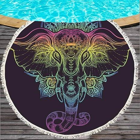CLEAME Toalla de Playa Redonda con Elefante, 150 cm esterillas de Yoga para Adultos Toallas