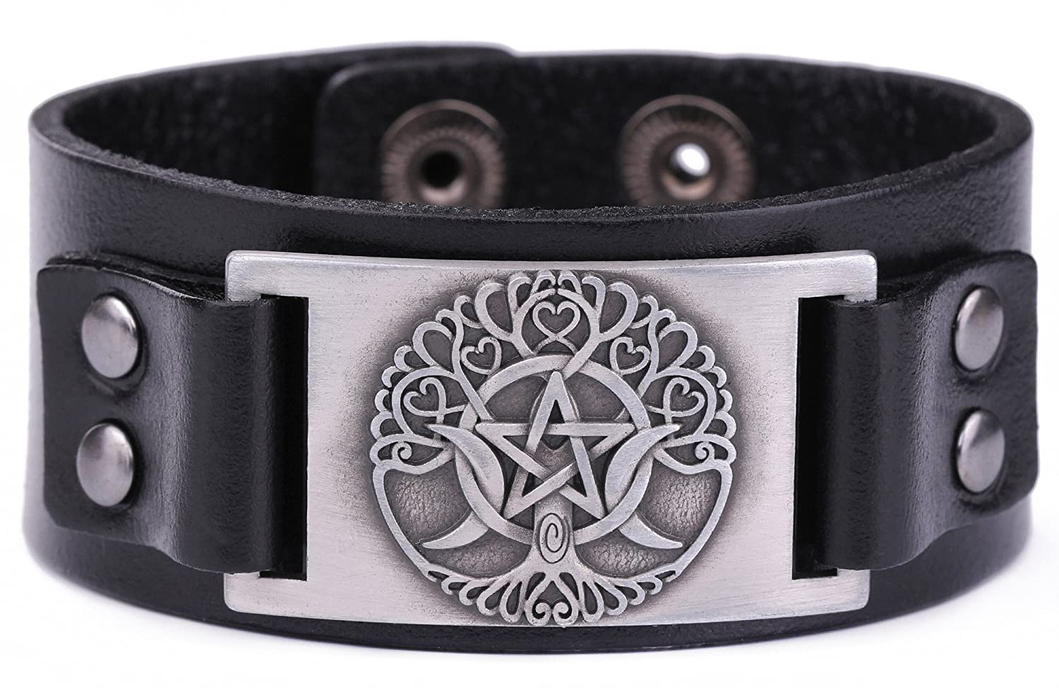 Wicca Religious Viking Irish Knot Triple Moon Tree of Life Patttern Bangle Leather Bracelet Black) GeXiang