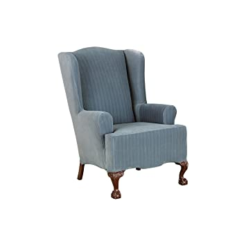 Amazoncom Sure Fit Stretch Pinstripe Wing Chair Slipcover