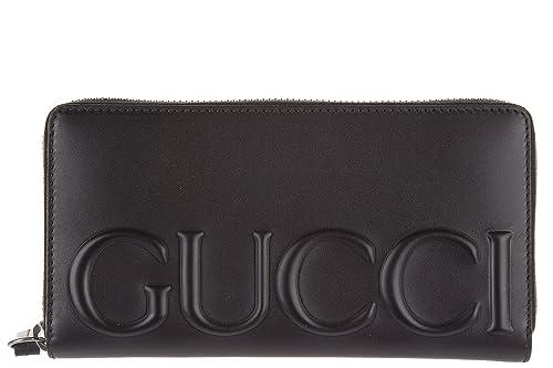 Gucci monedero cartera bifold de mujer en piel nuevo embossed negro