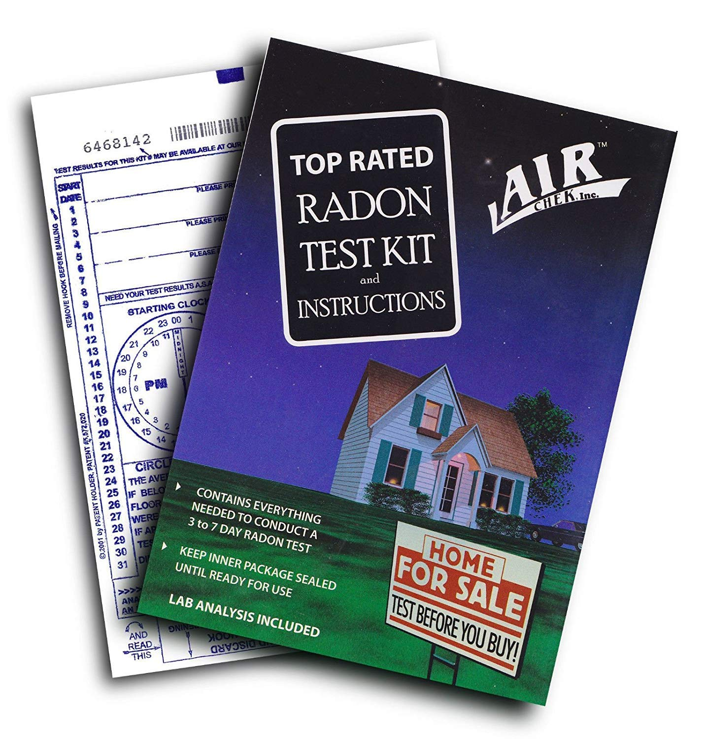 AirChek 43237-2 3 to 7 Day Charcoal Radon Test Kit