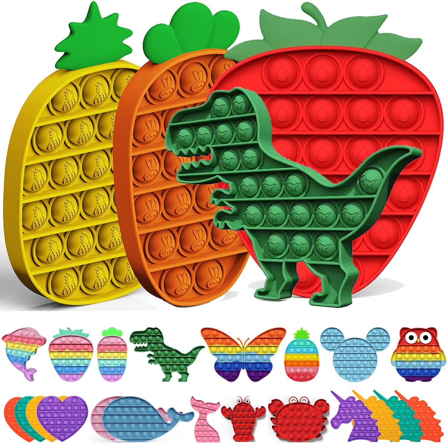 Strawberry Carrot pop Bubble-it Dinosaur Fidget Toy Pineapple 4 Pack Different Shapes Sensory Stress Reliever, Autism Special Needs Silicone Squeeze Fidget Toys for Anxiety ADHD Kids
