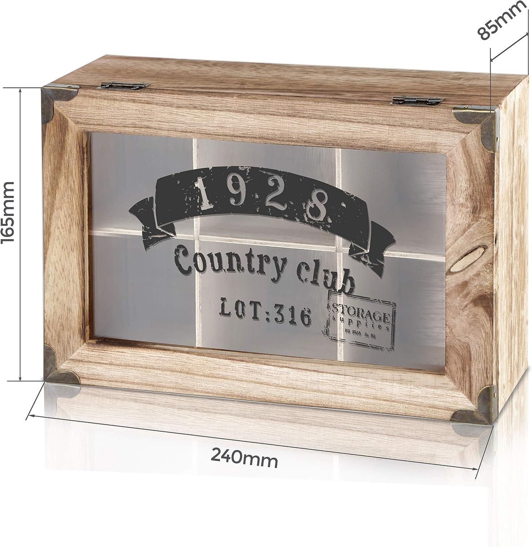 """6 F/ächer Oramics Teebox im Vintage Look /""""1928 Country Club/"""" aus Holz mit 6 oder 9 F/ächern Teekiste Teekasten inlusive E-Book"""